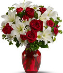 12 Red Rose &  Lily in Vase