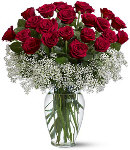 24 Red Rose in Clear Glass Vase