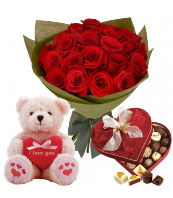 Red Roses W Bear Chocolate