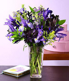 Purple Iris Flowers In A Vase 12 Stem Cebu Gift Delivery Philippines