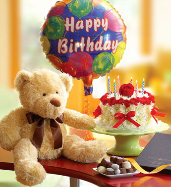 Send Flower Cake with Balloon Cake and Bear to Cebu Philippines